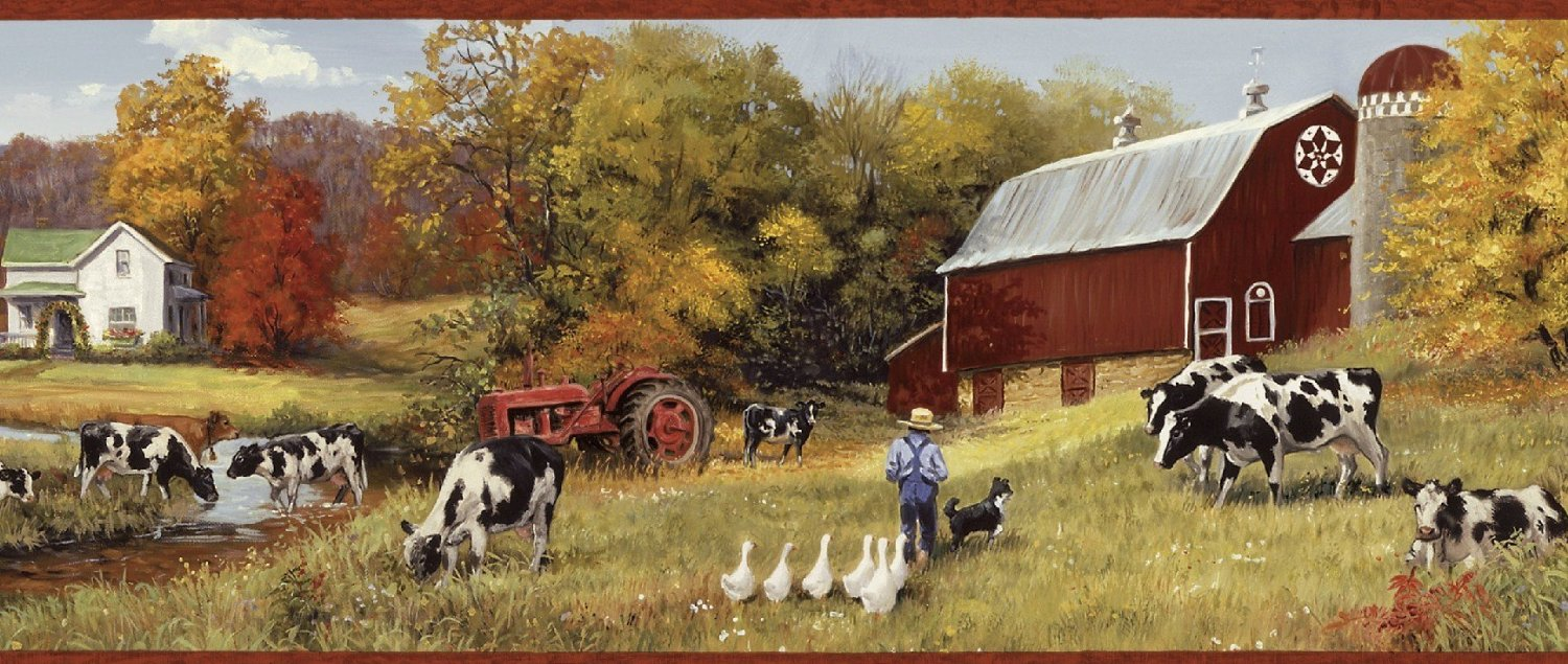 wallpaper border cow pasture red barns farm country